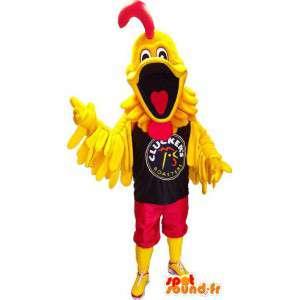 Jätte gul fågelmaskot. Gul tuppdräkt - Spotsound maskot
