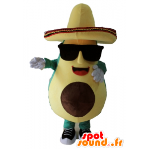 Mascotte giant avocado, green and yellow, with a sombrero - MASFR24452 - Mascot of vegetables