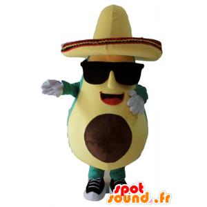 Mascotte Riesen avocado, grün und gelb, mit einem Sombrero - MASFR24452 - Maskottchen von Gemüse