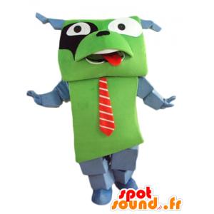 Mascotte de chien vert et gris, géant et drôle, avec une cravate - MASFR24458 - Mascottes de chien