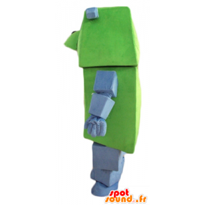 Green and gray dog mascot, giant and funny, with a tie - MASFR24458 - Dog mascots