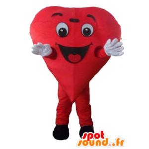 Coração vermelho mascote, gigante e sorrindo - MASFR24466 - mascote dos namorados