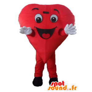 Mascot red heart, giant and smiling - MASFR24466 - Valentine mascot