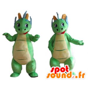 2 mascots green and blue dinosaurs colorful and cute - MASFR24471 - Mascots dinosaur
