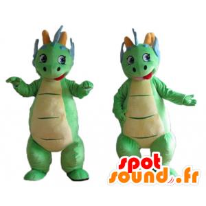 2 Maskottchen grüne und blaue Dinosaurier bunte und nette - MASFR24471 - Maskottchen-Dinosaurier