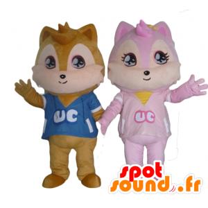 2 mascotes esquilos, um castanhos e uma cor de rosa