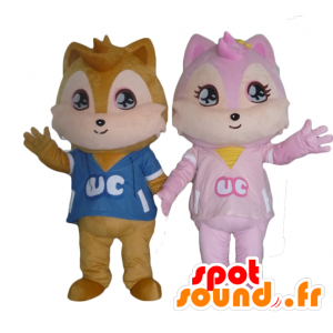 2 mascottes eekhoorns, een bruine en een roze
