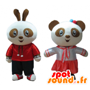 2 animali domestici, un coniglio e un panda, marrone e bianco, sorridente - MASFR24475 - Mascotte di Panda