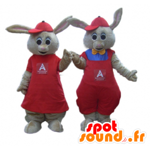 2 brown bunnies mascots dressed in red - MASFR24476 - Rabbit mascot