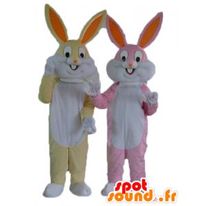 2 rabbits mascot, yellow and white, and pink and white - MASFR24477 - Rabbit mascot
