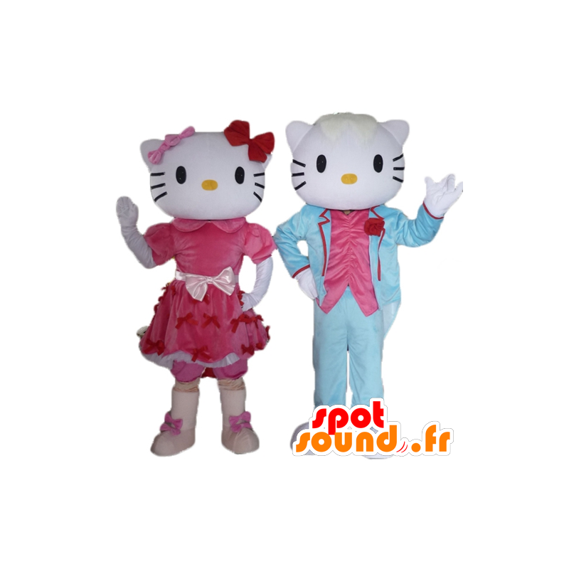 2 mascots, one of Hello Kitty and the other of her boyfriend - MASFR24479 - Mascots Hello Kitty