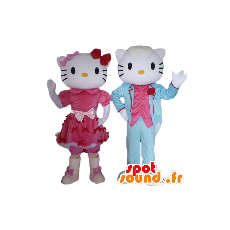 2 mascottes, één van Hello Kitty en de andere van haar vriendje - MASFR24479 - Hello Kitty Mascottes