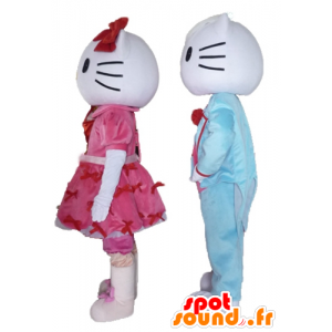Två maskotar, en av Hello Kitty och den andra av hennes vän -