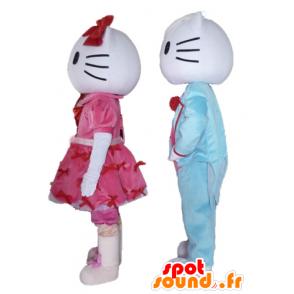 2 Maskottchen, einer der Hallo Kitty und die andere von ihrem Freund - MASFR24479 - Maskottchen Hello Kitty