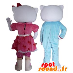 2 mascotte, una di Ciao Kitty e l'altra del suo fidanzato - MASFR24479 - Mascotte Hello Kitty