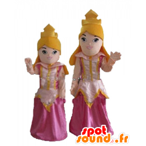 2 mascottes blond prinses in roze jurk