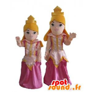 2 maskoti blond princeznu v růžových šatech