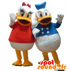 2 maskoter Daisy og Donald, Disney kjendis par - MASFR24484 - Donald Duck Mascot