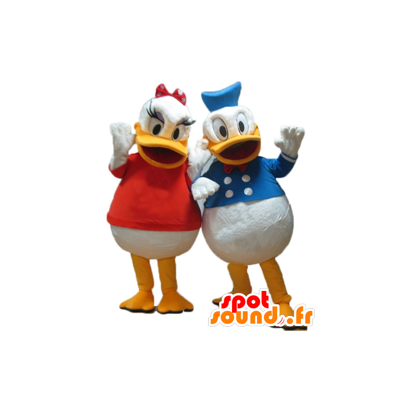 2 mascots Daisy and Donald, Disney celebrity couple - MASFR24484 - Donald Duck mascots