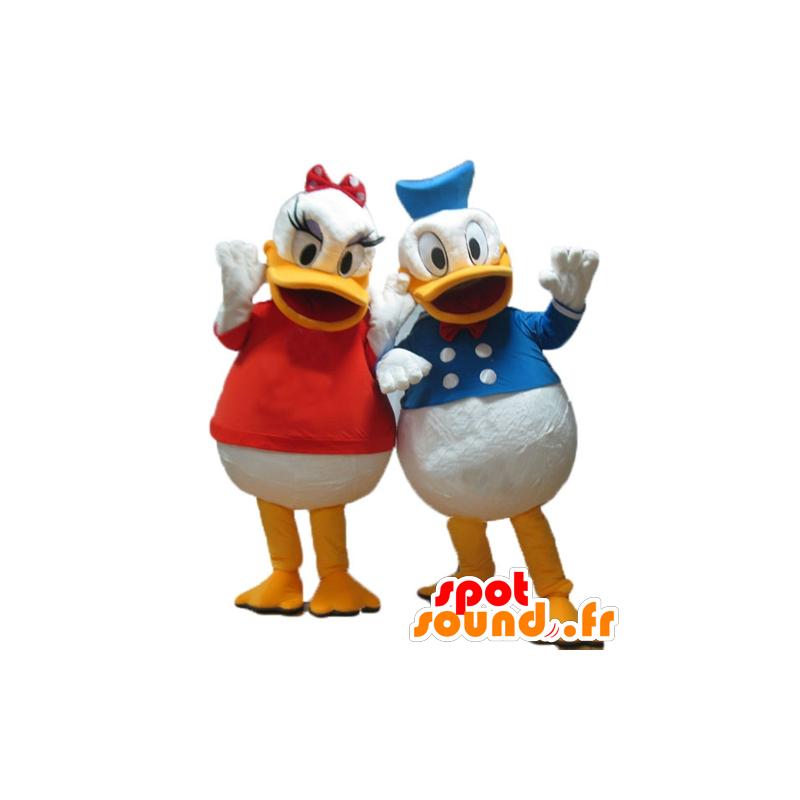 2 Maskottchen Daisy und Donald, Disney Promi-Paar - MASFR24484 - Donald Duck-Maskottchen