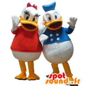 2 mascottes Daisy en Donald, Disney het beroemde echtpaar - MASFR24484 - Donald Duck Mascot