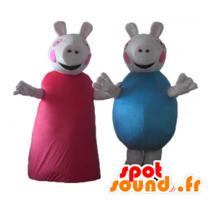 2 mascots pigs, one in red dress, the other in blue - MASFR24485 - Mascots pig