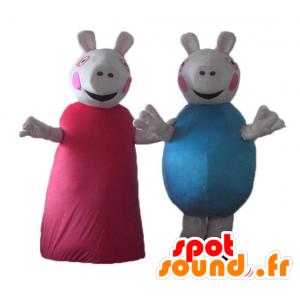 2 Maskottchen Schwein, einem im roten Kleid, das andere in blau - MASFR24485 - Maskottchen Schwein