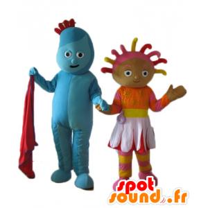2 maskoter, en blå mann og en farget jente - MASFR24486 - Ikke-klassifiserte Mascots