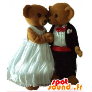 2 Teddy maskotteja pukeutunut häät pukea - MASFR24488 - Bear Mascot