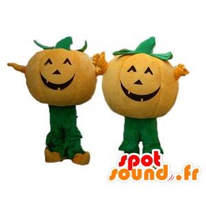2 mascots orange and green pumpkins for Halloween - MASFR24490 - Halloween