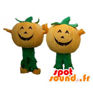 2 mascottes oranje en groene pompoenen voor Halloween - MASFR24490 - Halloween
