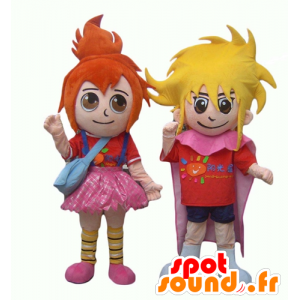 2 mascots of children, a red-haired girl and a blonde boy - MASFR24493 - Mascots child