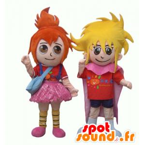 2 mascottes d'enfants, une fille rousse et un garçon blond - MASFR24493 - Mascottes Enfant