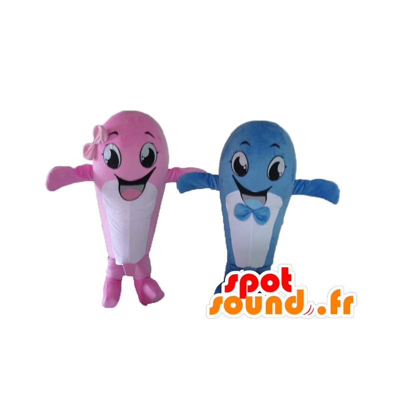 2 mascots whales, pink and blue - MASFR24494 - Mascots of the ocean