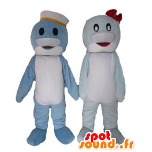 2 maskotteja delfiinejä, sininen ja valkoinen kala
