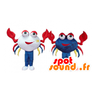 2 mascots and smiling brightly colored crabs