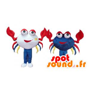 2 mascottes kleurrijke krabben en lachend