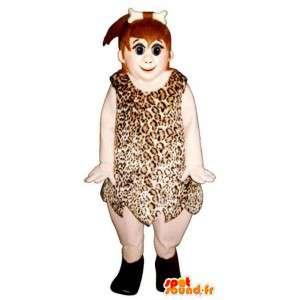 Forhistorisk kvinne maskot med sin dyreskinn - MASFR006701 - Kvinne Maskoter