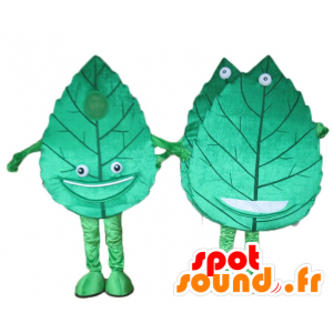 2 giant mascots and smiling green leaves