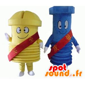 2 riesige Schraube Maskottchen, eine blaue und eine gelbe - MASFR24502 - Maskottchen von Objekten