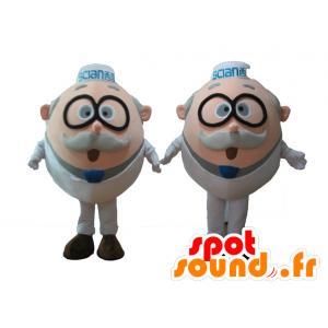 2 Maskottchen alte Männer, Wissenschaftler, mit Brille - MASFR24503 - Menschliche Maskottchen