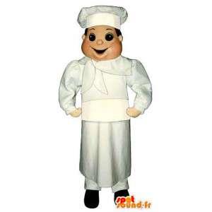 Mascote cozinheiro com um avental e chapéu de chef - MASFR006702 - Mascotes homem
