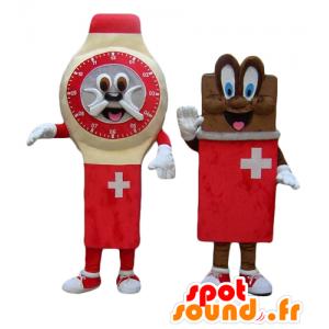 Beiden Maskottchen, eine Uhr und eine Tafel Schokolade, Schweizer - MASFR24504 - Maskottchen von Objekten