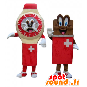 Two mascots, a watch, and a bar of chocolate, Swiss - MASFR24504 - Mascots of objects
