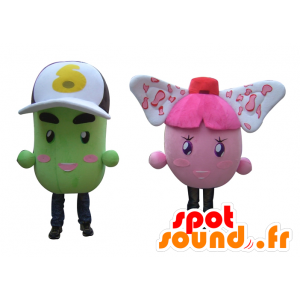 2 mascottes kleurrijke sneeuwpoppen, roze en groene aardappelen - MASFR24505 - Niet-ingedeelde Mascottes