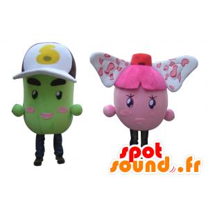 2 maskotteja värikäs lumiukkoja, pinkki ja vihreä perunat - MASFR24505 - Mascottes non-classées