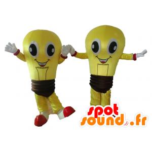 2 mascotte di lampadine gialle e marrone, molto sorridente - MASFR24506 - Lampadina mascotte