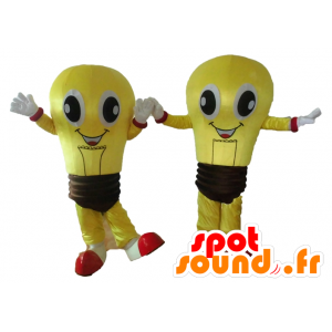 2 mascottes d'ampoules jaunes et marron, très souriantes