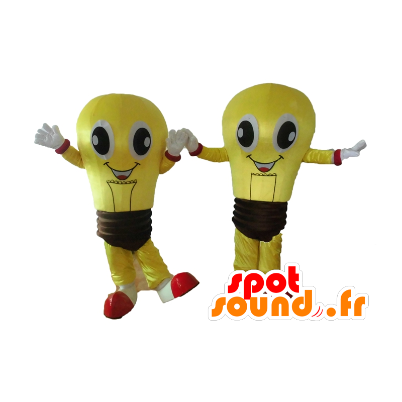 2 mascots of yellow bulbs and brown, very smiling - MASFR24506 - Mascots bulb