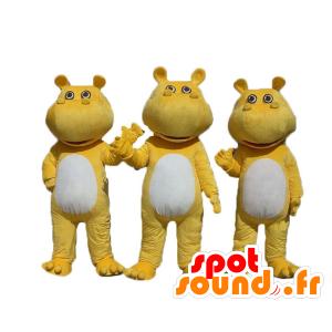 3 gele en witte nijlpaard mascottes